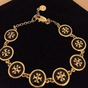 NEW Tory Burch Black/Gold Monogram Logo Bracelet